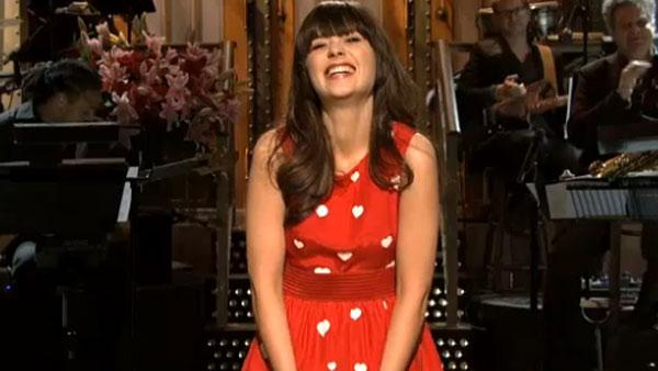 Zooey Deschanel appears in a still from the February 11 episode of Saturday Night Live. - Provided courtesy of NBC