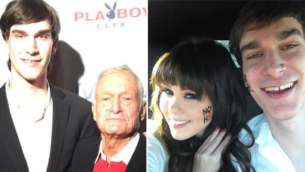 Hugh Hefner and his son Marston appear in at their joint birthday bash at the Palms Hotel and Casino in Las Vegas on April 9, 2011. / Marston Hefner and Claire Sinclair appear in a photo posted on her official Lockerz account on February 9, 2012. - Provided courtesy of Yfrog.com/h32k7dqj / Lockerz.com/s/182249142