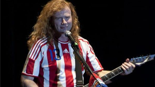 Dave Mustaine appears on stage at a concert in Asuncion, Paraguay on Nov. 27, 2011, as seen in this photo posted on his Facebook page.