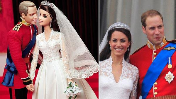 The Prince William and Kate Middleton Barbie dolls. / Britains Prince William waves with his wife Kate, Duchess of Cambridge, on the balcony of Buckingham Palace after the Royal Wedding in London Friday, April, 29, 2011. - Provided courtesy of Mattel / AP / Matt Dunham