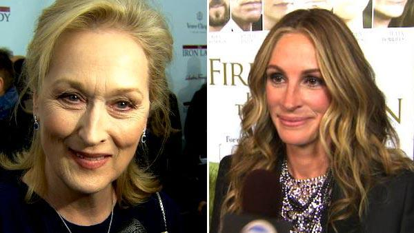 Meryl Streep appears at the premiere of The Iron Lady in December 2011. / Julia Roberts talks to OnTheRedCarpet.com about Fireflies in the Garden at a Los Angeles premiere in November 2011. - Provided courtesy of The Weinstein Company
