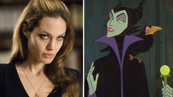 Angelina Jolie appears in a still from the 2008 film, Wanted. / Maleficent appears in a still from Disneys 1959 film, Sleeping Beauty. - Provided courtesy of OTRC / Universal Studios / Walt Disney Productions