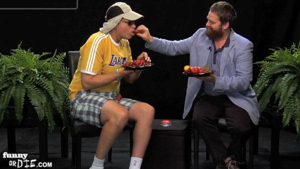 Zach Galifianakis feeds Will Ferrell a strawberry during an interview on his Funny Or Die web series Between Two Ferns in 2011. - Provided courtesy of Funny Or Die / youtube.com/watch?v8vgpWyAcqO4