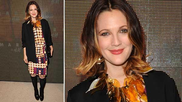Drew Barrymore appears at the launch party for H and Ms Marni collection in Los Angeles on Feb. 17, 2012. She is wearing an outfit from the fashion line. - Provided courtesy of H and M / Marni