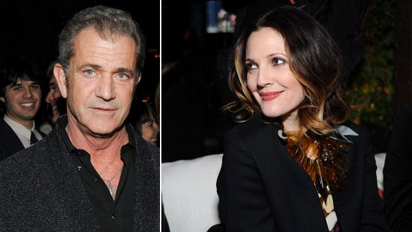 Mel Gibson and Drew Barrymore appear at the launch party for H and Ms Marni collection in Los Angeles on Feb. 17, 2012. She is wearing an outfit from the fashion line. - Provided courtesy of H and M / Marni