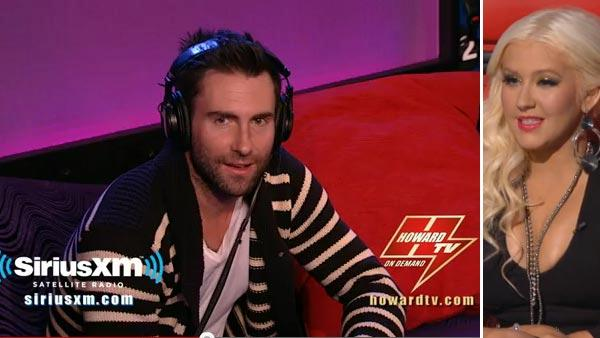 Adam Levine appears on The Howard Stern Show on Sirius XM satellite radio on Feb. 21, 2012. / Christina Aguilera appears on the NBC show The Voice in 2012. - Provided courtesy of Sirius XM / NBC