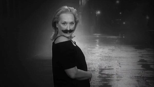 Meryl Streep dons a mustache in the trailer for Movie: The Movie, which debuted during Jimmy Kimmels post-Oscars special on Feb. 26, 2012. - Provided courtesy of ABC