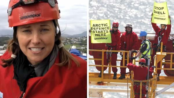 Lucy Lawless appears in a video provided by Greenpeace New Zealand, taken on board an oil drilling tower she boarded with several other protesters to demonstrated against Shell in February 2012. - Provided courtesy of youtube.com/user/greenpeacemedia