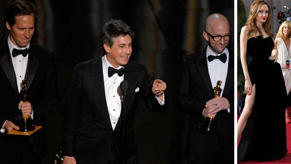 Alexander Payne, Nat Faxon and Jim Rash accept the Oscar for best adapted screenplay for The Descendants during the 84th Academy Awards on Sunday, Feb. 26, 2012. / Actress Angelina Jolie arrives before the 84th Academy Awards on Sunday, Feb. 26, 2012/ - Provided courtesy of AP / Mark J. Terrill / Amy Sancetta