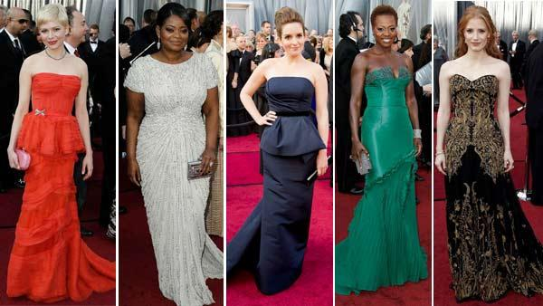 Michelle Williams, Octavia Spencer, Tina Fey, Viola Davis and Jessica Chastain appear on the red carpet at the 2012 Academy Awards on Feb. 26, 2012. - Provided courtesy of AP / A.M.P.A.S.