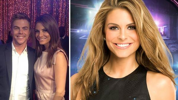 Maria Menounos appears with Derek Hough after the cast of season 14 of 'Dancing With The Stars' is announced, as seen on her Twitter page. / Maria Menounos appears in a promotional photo for the 14th season of the ABC show 'Dancing With the Stars.'
