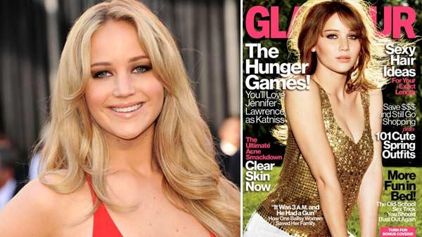 Jennifer Lawrence appears at the 2011 Oscars. / Jennifer Lawrence appears on the April 2012 cover of Glamour magazine. - Provided courtesy of Academy of Motion Picture Arts and Sciences / Glamour