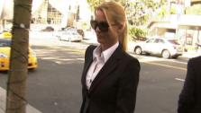 Nicollette Sheridan, formerly of Desperate Housewives, walks into court to testify in her wrongful termination case on March 1, 2012. - Provided courtesy of OTRC