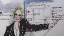 Nicollette Sheridan appears inside a Los Angeles court during day 1 of a trial about her Desperate Housewives wrongful termination case, as seen in this sketch released on Feb. 29, 2012. - Provided courtesy of OTRC / Mona S. Edwards