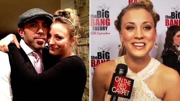 Kaley Cuoco appears in a photo with former fiance Josh Resnik from her official Facebook page.  / Kaley Cuoco talks to OnTheRedCarpet.com on Dec. 15, 2011 at a Los Angeles party to celebrate the 100th episode of CBS series 'The Big Bang Theory.'