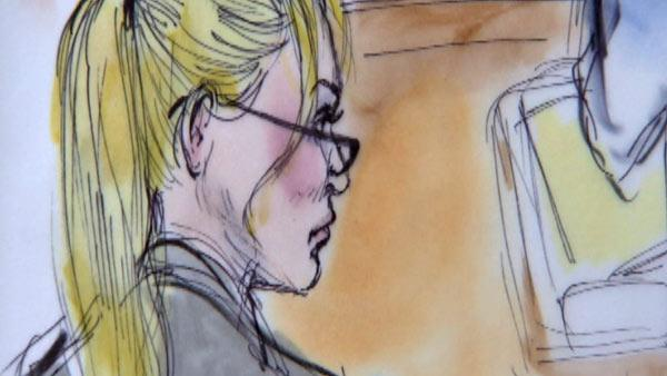 Nicollette Sheridan appears inside a Los Angeles court during a trial about her 'Desperate Housewives' wrongful termination case, as seen in this sketch released on March 5, 2012.