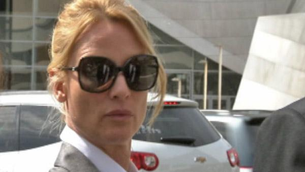 Nicollette Sheridan appears leaving a Los Angeles court during a trial about her 'Desperate Housewives' wrongful termination case on March 5, 2012.