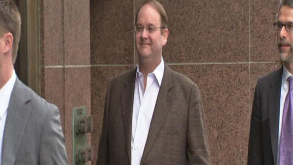 'Desperate Housewives' creator Marc Cherry and his deffense attorney Adam Levin arrive at a Los Angeles court for Nicollette Sheridan's wrongful termination case on March 5, 2012.