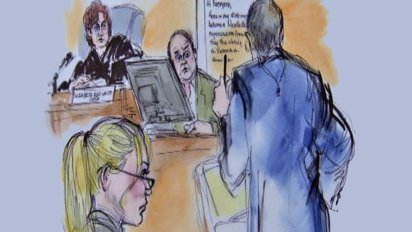 Nicollette Sheridan and Marc Cherry appears inside a Los Angeles court during a trial about the actress' 'Desperate Housewives' wrongful termination case, as seen in this sketch released on March 5, 2012.