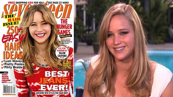 Jessica Lawrence appears on the March 2012 cover of Seventeen magazine. / Jennifer Lawrence in a February 7, 2011 interview with OTRC. - Provided courtesy of OTRC / Seventeen magazine / OTRC