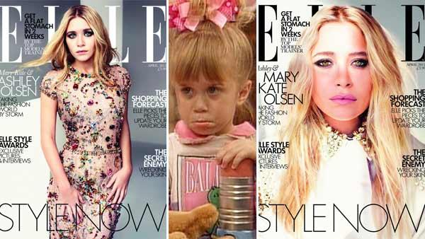 (Right and left) Ashley Olsen and Mary-Kate Olsen appear on dual covers of Elle UKs April 2012 issue. (Middle) Michelle Tanner, played by Ashley and Mary-Kate Olsen, appears in a scene from Full House. - Provided courtesy of Elle UK / Jeff Franklin Productions / Warner Bros. Television