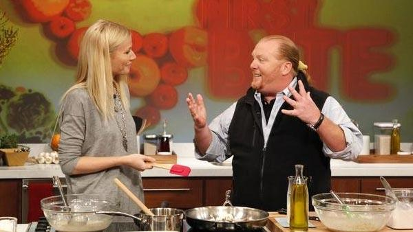 Mario Batali appears with Gwyneth Paltrow on a March 2, 2012 episode of the ABC show The Chew. - Provided courtesy of ABC / Heidi Gutman