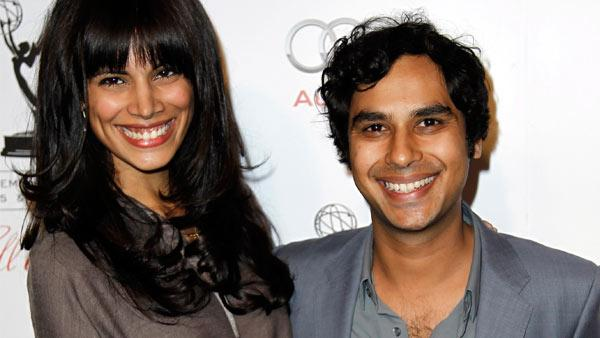 Actor Kunal Nayyar, right, and Neha Kapur arrive at the Academy of Television Arts and Sciences 21st Annual Hall of Fame Gala in Beverly Hills, Calif., Thursday, March 1, 2012. - Provided courtesy of AP / Matt Sayles