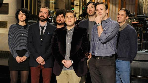 Jonah Hill, Jason Sudeikis and The Shins appear in a promotional photo for her appearance on NBCs sketch comedy Saturday Night Live. - Provided courtesy of OTRC / NBC / Dana Edelson