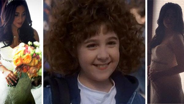 Right and left: Alisan Porter appears in photos posted on her Twitter page following her March 10, 2012 wedding. / Center: Alisan Porter appears in a scene from the 1991 movie 'Curly Sue.'