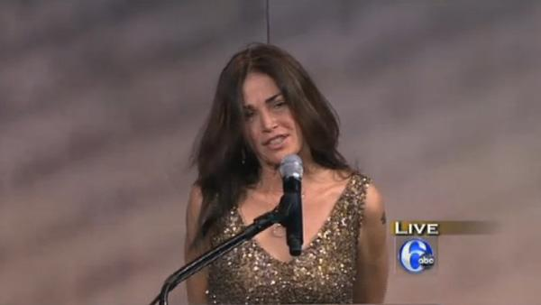 Kim Delaney speaks before former Secretary of Defense Robert Gates receives the Liberty Medal during a ceremony at the National Constitution Center on Thursday, Sept. 22, 2011 in Philadelphia. - Provided courtesy of WPVI