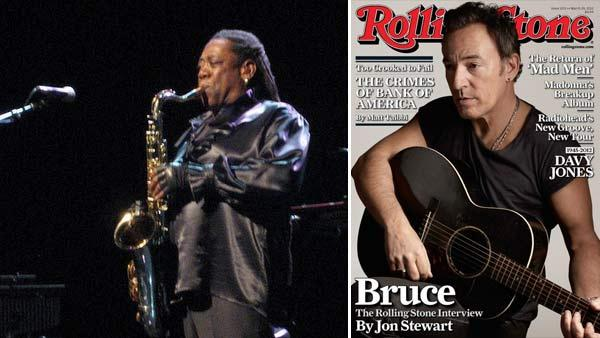 Clarence Clemons performs in concert in 2009. / Bruce Springsteen appears on the cover of Rolling Stone in March 2012. - Provided courtesy of www.flickr.com/photos/1323/ Rolling Stone