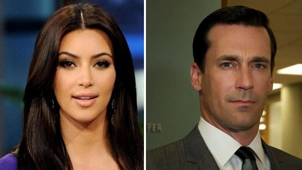 Jon Hamm appears in a scene from Mad Men. / Kim Kardashian appears in a photo from her appearance on The Tonight Show on June 14, 2011. - Provided courtesy of AMC / NBC