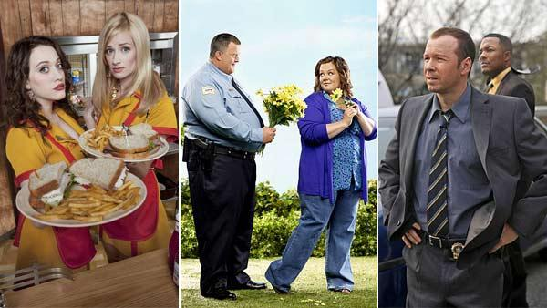 Kat Dennings and Beth Behrs appear in a still from 2 Broke Girls / Melissa McCarthy and Billy Gardell appear in a still from Mike and Molly / Donnie Wahlberg appears in a still from Blue Bloods. - Provided courtesy of CBS / Monty Brinton / Craig Blankenhorn