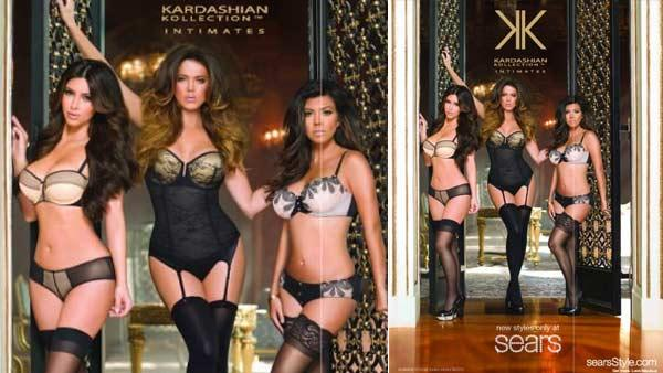 Kim, Kourney and Khloe appear in a photo posted on Khloes official Celebuzz page modeling their new Kardashian Kollection lingerie line on March 14. - Provided courtesy of http://khloekardashian.celebuzz.com/feeling-sexy-in-kardashian-kollection-lingerie-03-2012