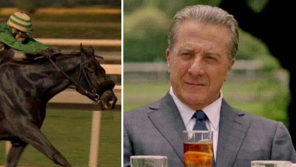 A horse and its rider appear in a scene from the HBO series Luck in 2011. / Dustin Hoffman appears in a scene from the HBO comedy Luck in 2011. - Provided courtesy of HBO