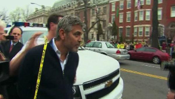 George Clooney is arrested for civil disobedience while protesting outside Sudanese Embassy in Washington, D.C. on March 16, 2012.