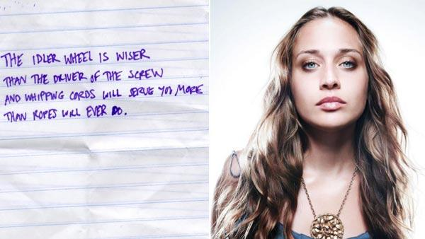 Fiona Apple appears in a photo from her official Facebook page. / A photo of her album title written out from her official Facebook page. - Provided courtesy of facebook.com/fionaapple