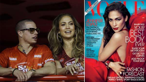 Jennifer Lopez waves to people as she watches carnival parades with Casper Smart at the Sambadrome in Rio de Janeiro, Brazil, Sunday Feb. 19, 2012. / Jennifer Lopez appears on the April cover of Vogue magazine. - Provided courtesy of AP Photo / Victor R. Caivano / Vogue / Mert Alas and Marcus Piggott