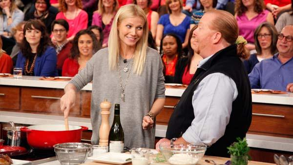 Gwyneth Paltrow and Mario Batali appear in a March 2, 2012 episode of The Chew. - Provided courtesy of ABC