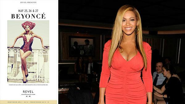 Beyonce appears on poster for Revel Resorts concerts in 2012. / Beyonce attends the after party following Jay-Zs concert at Carnegie Hall to benefit The United Way Of New York City and the Shawn Carter Foundation at the 40 / 40 Club on Feb.y 6, 2012. - Provided courtesy of Revel Resorts / Kevin Mazur / WireImage /