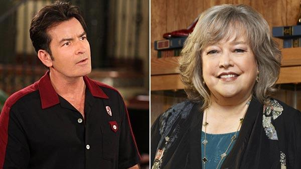 Charlie Sheen appears in an undated promotional photo for Two and a Half Men. / Kathy Bates appear in an undated photo for the NBC series Harrys Law. - Provided courtesy of NBC