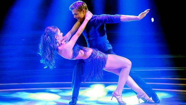 TV personality Maria Menounos and her partner Derek Hough received 21 out of 30 points from the judges for their cha cha on the season premiere of Dancing With The Stars, which aired on March 19, 2012. - Provided courtesy of ABC / Adam Taylor