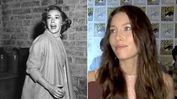 Vera Miles appears in a scene from the 1960 movie Psycho. / Jessica Biel talks to OnTheRedCarpet.com at Comic-Con San Diego in June 2011 about the Total Recall remake. - Provided courtesy of William Creamer / Paramount Pictures / OTRC