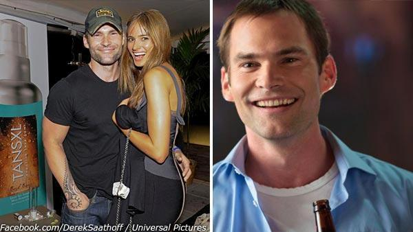 Seann William Scott and Lindsay Frimodt appear at the launch party for Derek Lloyd Saathoffs self-tanner TanXSL in August 2011. / Seann William Scott appears in a scene from the 2012 movie American Reunion. - Provided courtesy of Derek Lloyd Saathoffs Facebook page - Facebook.com/DerekSaathoff / Universal Pictures