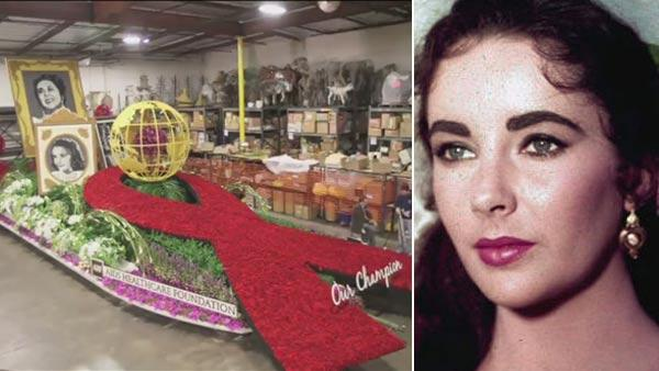 Elizabeth Taylors AHF Rose Parade Float. / Actress Elizabeth Taylor is shown in costume for her character in the 1957 film Raintree County. - Provided courtesy of AHF / AP