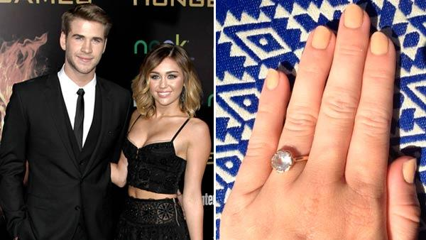 Miley Cyrus, left, and Liam Hemsworth arrive at the world premiere of The Hunger Games on Monday March 12, 2012 in Los Angeles. / Miley Cyrus hand appears in a photo posted on her official Twitter page on March 22, 2012. - Provided courtesy of AP / Matt Sayles / Twitter.com/MileyCyrus