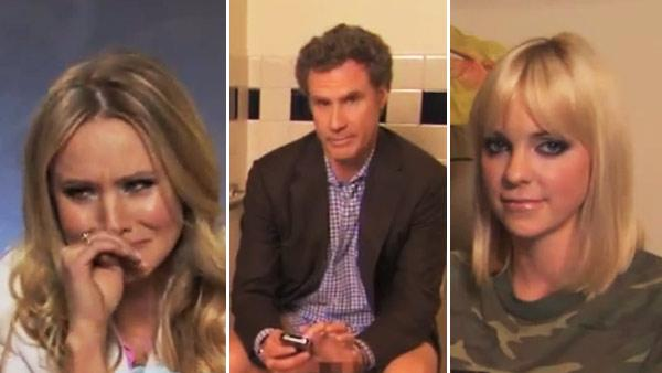 Kristen Bell, Will Ferrell and Anna Faris appear in a still from a March 2012 episode of Jimmy Kimmel Live. - Provided courtesy of ABC