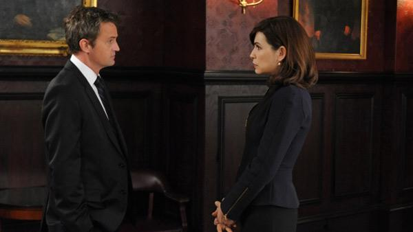 Matthew Perry and Julianna Margulies appear in a still from The Good Wife. - Provided courtesy of David M. Russell / CBS