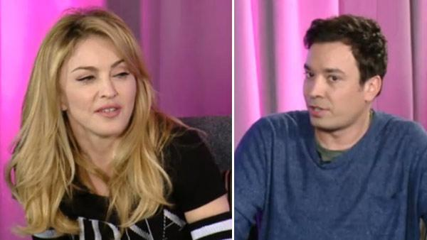 Jimmy Fallon and Madonna appear in a still from a March 2012 Facebook interview. - Provided courtesy of Facebook