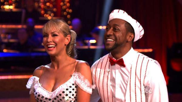 Jaleel White, who played Steve Urkel on Family Matters, and his partner Kym Johnson received 22 out of 30 points from the judges for their jive on week two of Dancing With The Stars, which aired on March 26, 2012. - Provided courtesy of ABC